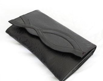 Cocktail Hour, Vintage, Black Floral Clutch Handbag from Paris