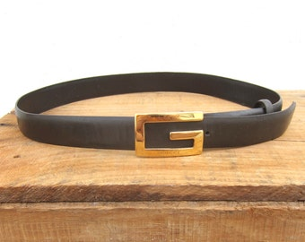 """90s Gucci Gold G Ladies Skinny Belt Italian Brown Leather Size 27-29"""""""