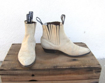 Chelsea Ankle Beetle Boots Distressed Off White Leather Ladies Size 7-7.5