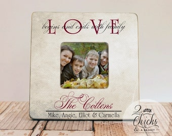 Love Begins And Ends With Family Personalized Picture Frame, Primitive Frame, Family  Name Picture Frame