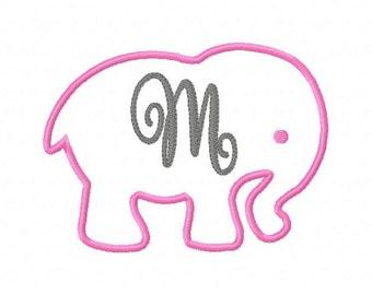 Elephant 5x7 Applique Monogram // Machine Embroidery Font Design Set // Safari Zoo Animal // Joyful Stitches