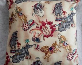 Vintage Circus Pillow Horse, Tigers, Elephants