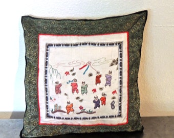 vintage asian silk throw pillow - 1950s-60s embroidered pillow