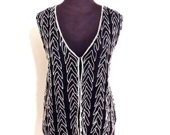 vintage sequin vest - 1980s Sweet Sue black silk/beaded vest top