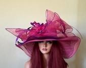 Pink Purple wide brim sinamay featgers rhinestone brooch hat races church wedding