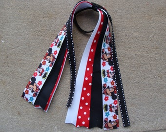Minnie Mouse Hair Bow Ponytail Streamer Hair bow - Red and Black Minnie Mouse Hair Bow black and red streamer bow