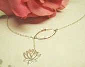 Lotus Necklace, Y Necklace, Bridesmaid Gift, Lariat Necklace, Yoga Jewelry, Lotus Jewelry