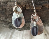 Coffee bean earrings in sterling silver, copper love knots, bronze hoops
