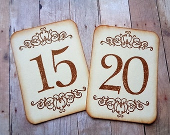 Wedding Table Numbers Vintage Scroll French Country