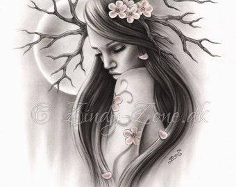 End of the beginning Woman Tree Branch Spiritual Nature Art Print Fantasy Girl Zindy Nielsen