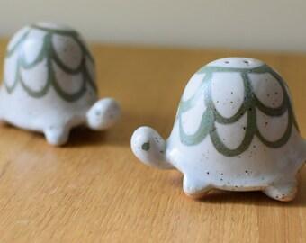 Vintage Turtle Tortoise Salt and Pepper Shakers Figural Ceramic