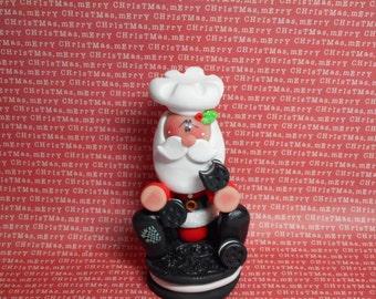 FREE SHIPPING! Polymer Clay Santa on a Huge Oreo Eating Oreos - Figurine Helen Terlalis Dorn Clay Babies Whimsical Chef Cookie Sweet Treats