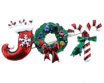 Christmas Joy Wreath Brooch Pin 1005401