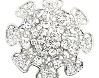 Silver Ruffled Flower Wedding Brooch Pin 1005702