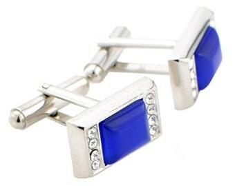 Blue Fiber Optic Cufflinks Crystal Cuff Links 1200212