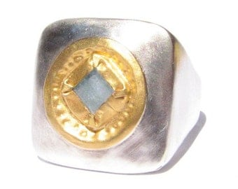 Aquamarine in 24k Solid Yellow Gold on Large Square Silver Ring - Large Gemstone Ring - Aquamarine Ring - 24k yellow gold - Statment Ring.