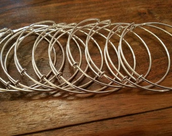 10 bangle blanks UK supplier Adjustable Stackers Bracelet silver adult or child size make your own stackable stacking add a charm bangle