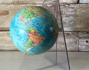 Vintage Small Globe With Lucite Stand Rath Political Globe From Germany