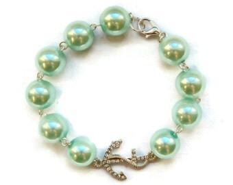 Aqua Pearl and Rhinestone Anchor Bracelet, Womens vintage inspired jewelry, Retro, Rockabilly, Pinup