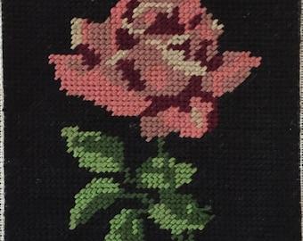 "Vintage Needlepoint Rose, 4""x 6"""