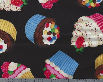 Cotton Fabric - Fancy Cupcakes on Black - by the Yard