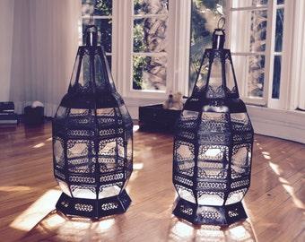 Pierced Metalwork & Glass Moroccan Candle Lantern