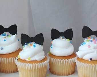 Black Tie Affair Bowtie Cupcakes Shower or Birthday Party Cupcake Toppers