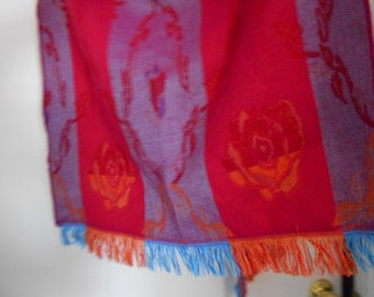FRENCH ROSE WRAP Sale! fringed made in france large and wide Scarf or Wrap fringed