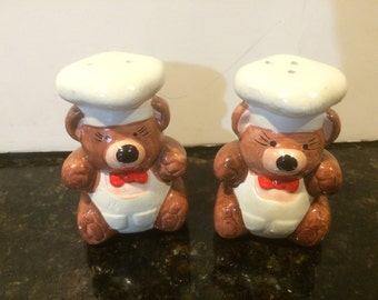 Vintage Bear Chefs Ceramic Salt and Pepper Shakers