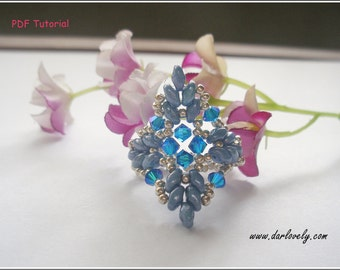 Tutorial Ring Pattern - Superduo Blue Leaves Ring (RG190) - Beading Jewelry PDF Tutorial (Instant Download)