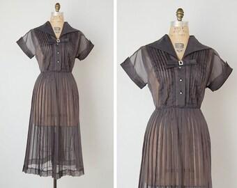 vintage 1950s dress / 50s organdy dress / gunmetal grey dress / Trieste dress