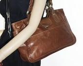 Distressed Tan Leather Bag Leather Tote  Leather Handbag, Julia size L