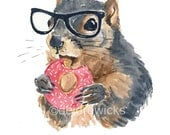 Squirrel Watercolor PRINT -5x7 Illustration, Hipster Squirrel, Sprinkle Donut Watercolour, Nursery Art, Kitchen Art