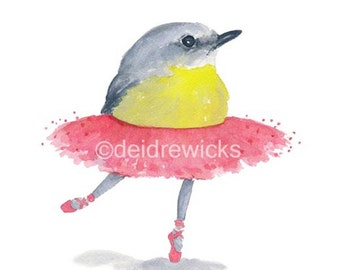Bird Watercolor PRINT - Ballet Watercolour, Ballerina Bird, 8x10, Nursery Art