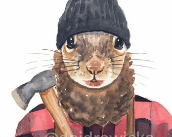 Squirrel Lumber Jack Watercolor Painting - 8x10 Watercolour Print, Canadiana, Squirrel Watercolor