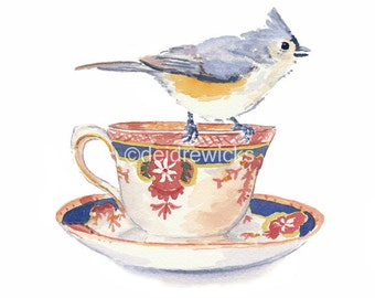Teacup Watercolor PRINT - Bird Watercolor, Tufted Titmouse, 8x10 Painting Print, Kitchen Art