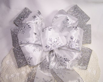 White Snowflake and Silver Sparkle Bow -Great for Wreaths, Holiday, Christmas & Winter Decor Decoration Stunning Winter Wedding Pew Bow