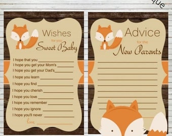 Fox Baby Shower Instant Download Advice For Parents U0026 Wishes For Baby  Cards, Woodland Baby