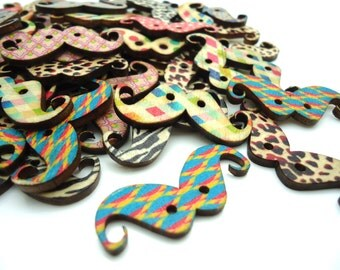 25 x Moustache Buttons - Mustache Buttons - Wooden Buttons - Patterned Buttons - 37mm
