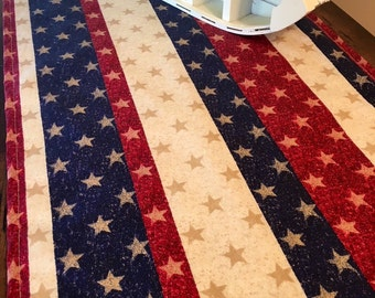 Patriotic Table Runner | Labor Day | American Theme | Stars Stripes | Texas Stars | Red White Blue | Home Decor | Linens | Vote | Olympics