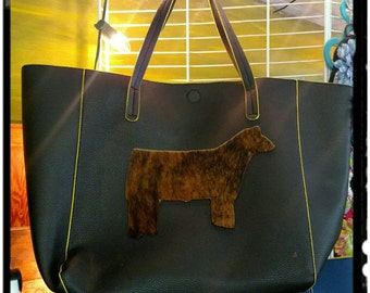 XLarge Black and Yellow purse/tote bag with hair on hide steer on front magnetic