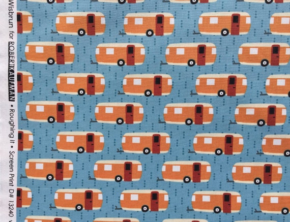 Roughing It campers blue Laurie Wisbrun Robert Kaufman fabric FQ or more