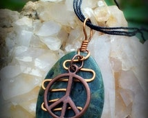 Holiday Sales Peace Sign Moss Agate Necklace