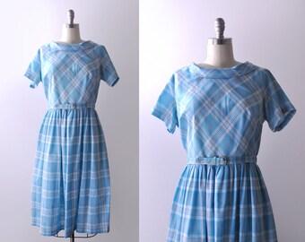 50's bright blue dress. full pleated skirt. diagonal plaid.1950 xl dress.