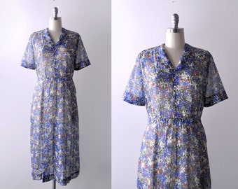 1950's sheer floral dress. 50 xl dress. blue, white, green flower print. 50's full dress.