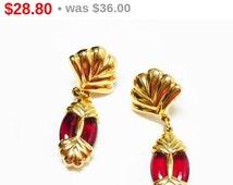 Swarovski Red Pierced Earrings - Goldtone Fan Shape with Oval Dangles - Studs for Pierced Ears - 1980's  1990's Modern Vintage Swan Mark