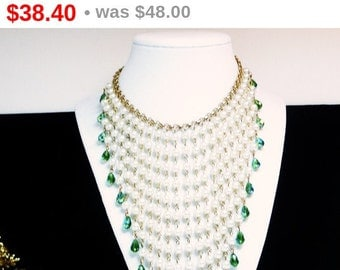Art Deco Pearlescent Beaded Bib Necklace - Runway Style with Green Aurora Borealis Iridescent Beads - Statement Pearl Jewelry