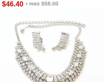 Brides Wedding Necklace & Earring Set - Clear Rhinestones - Vitnage Baguettes and Chatons