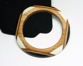 Vintage Wood Bangle Bracelet - Laminated Wood & Lucite - Black, White, Brown Shades of Wood Grain - Mid Century Modernist - 1970's