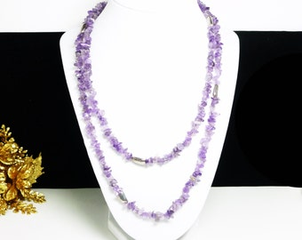 """Purple Amethyst Chips Necklace & Sterling Silver Beads - Vintage Gemstones -  43"""" Rope Length Necklace"""